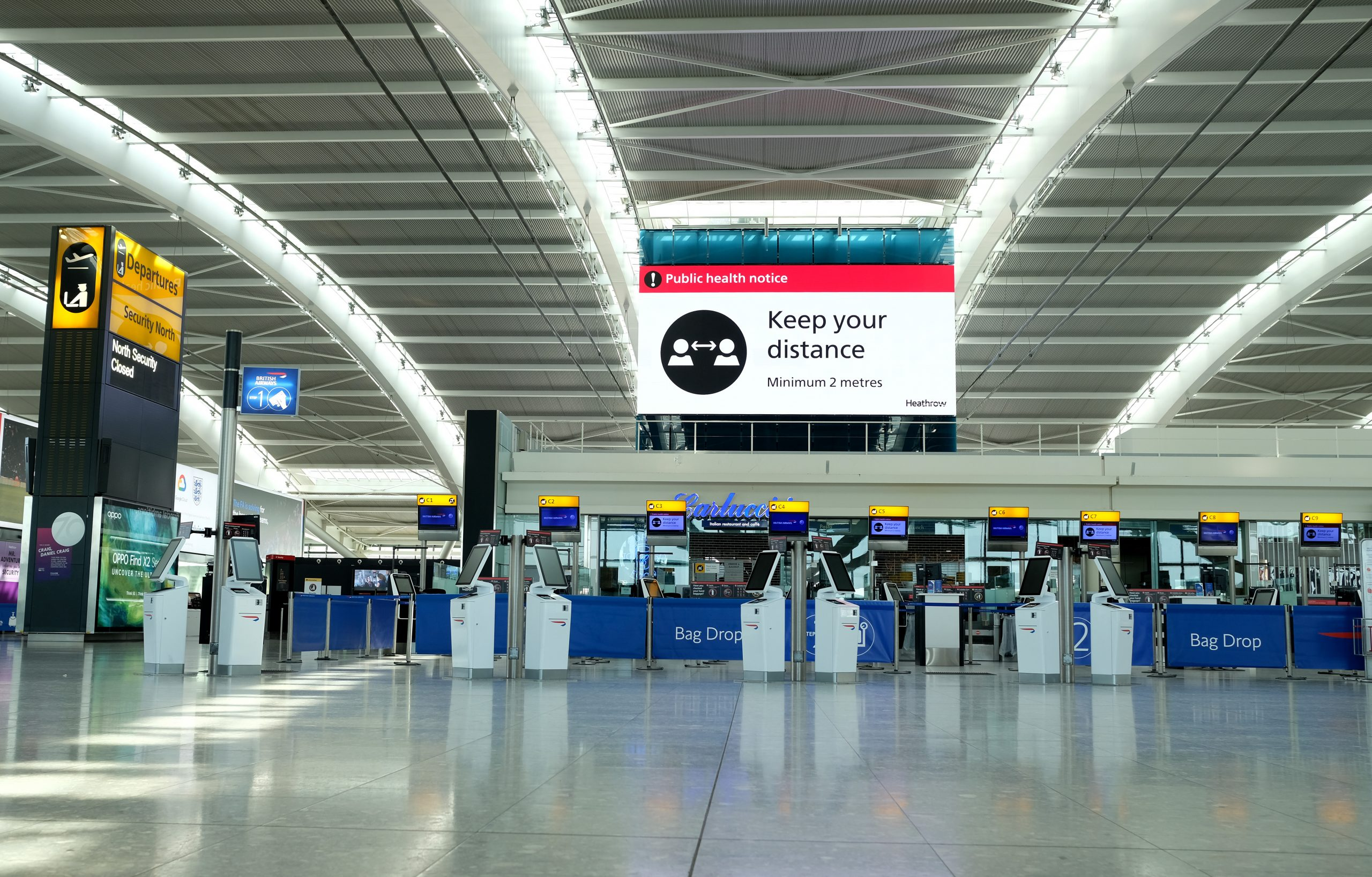 A quiet Terminal 5 departure hall at Heathrow Airport (Photo by Richard Heathcote/Getty Images)