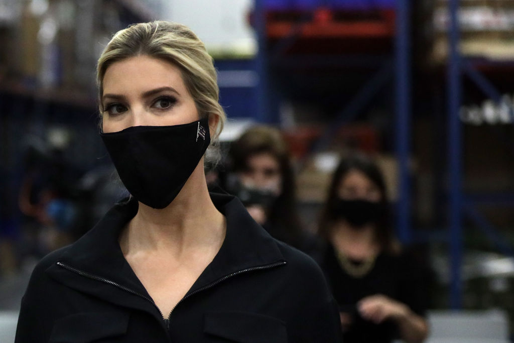 Ivanka Trump, first daughter and adviser to President Donald Trump, tours the distribution center of Coastal Sunbelt Produce May 15, 2020 in Laurel, Maryland.  (Photo by Alex Wong/Getty Images)