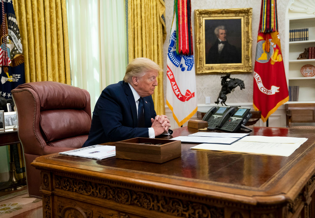 US President Donald Trump at the Oval Office. (Photo: Doug MIlls-Pool/Getty Images)