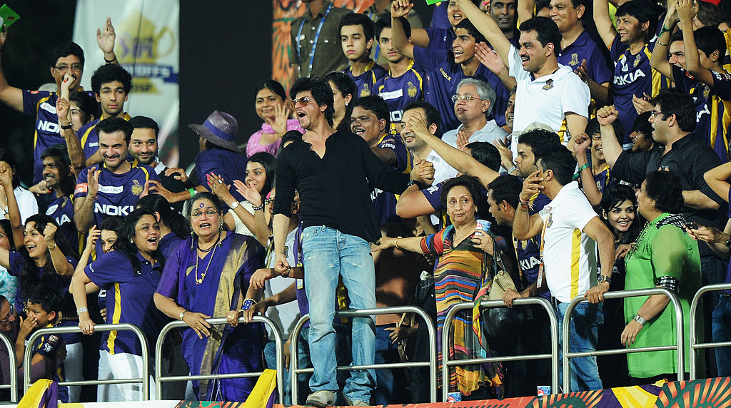 File photo: Bollywood star and co-owner of Kolkata Knight Riders Shah during an IPL match. (DIBYANGSHU SARKAR/AFP/GettyImages)