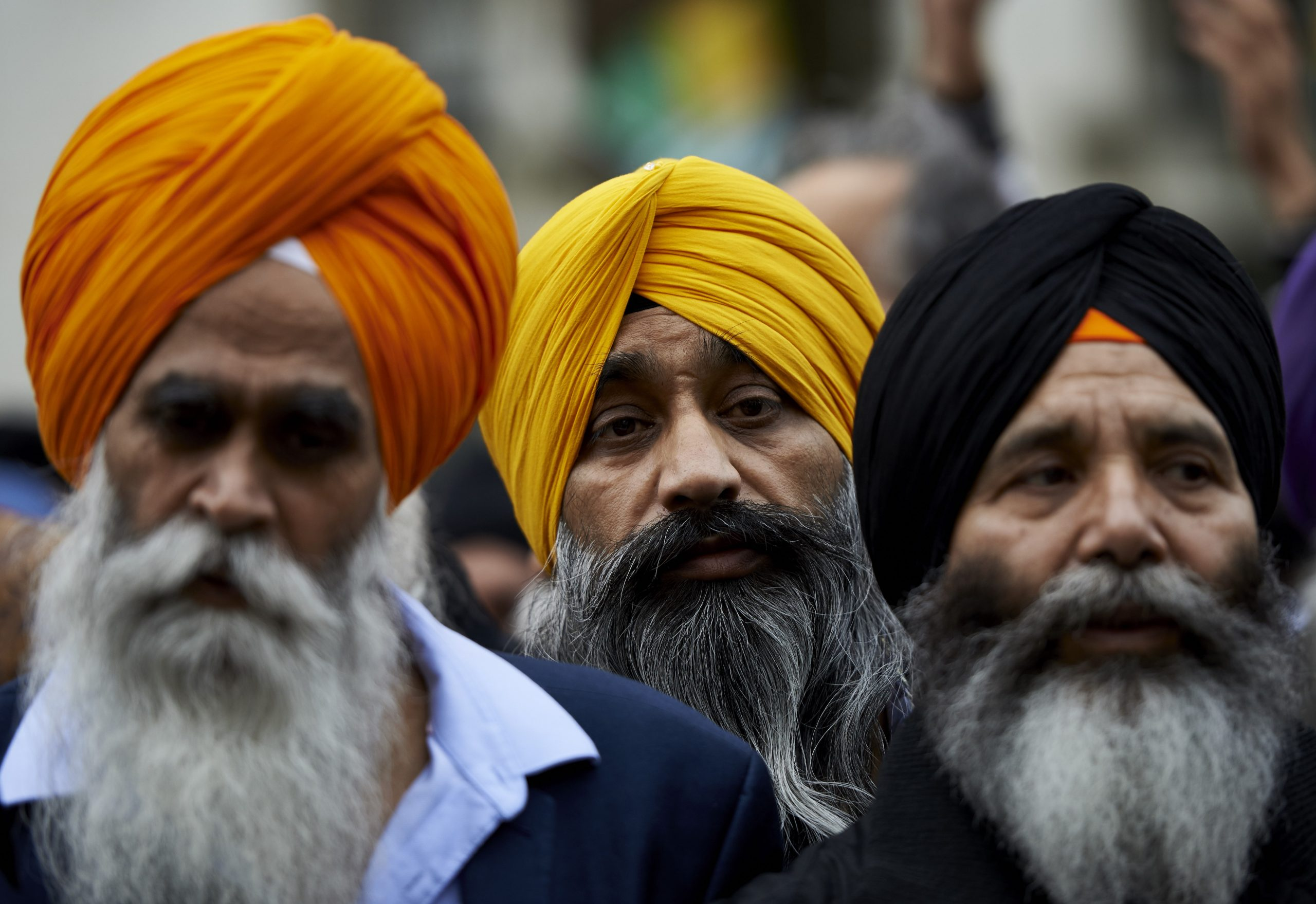 "Protestors from the Sikh community demonstrate against Indian Prime Minister Narendra Modi by Parliament square in central London on November 12, 2015. India's Prime Minister Narendra Modi today began a three-day visit to London focused on trade deals and connecting with the diaspora as critics warned of a ""rising climate of fear"" under his rule. AFP PHOTO / NIKLAS HALLE'N        (Photo credit should read NIKLAS HALLE'N/AFP via Getty Images)"