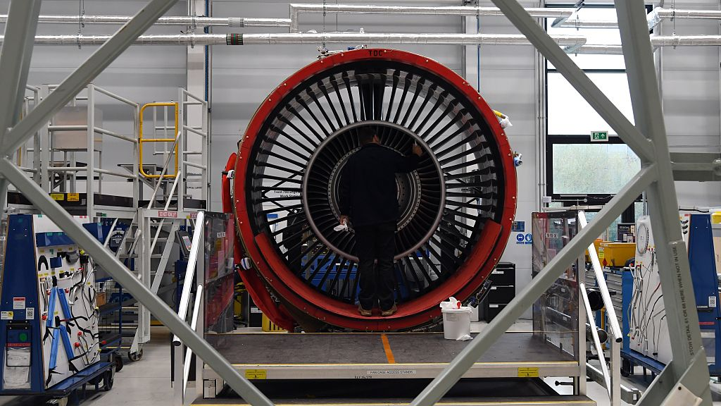 File photo: A view of the Rolls Royce Trent XWB engines on the assembly line at the Rolls Royce factory in Derby, England. (Photo: Paul Ellis - WPA Pool/Getty Images)