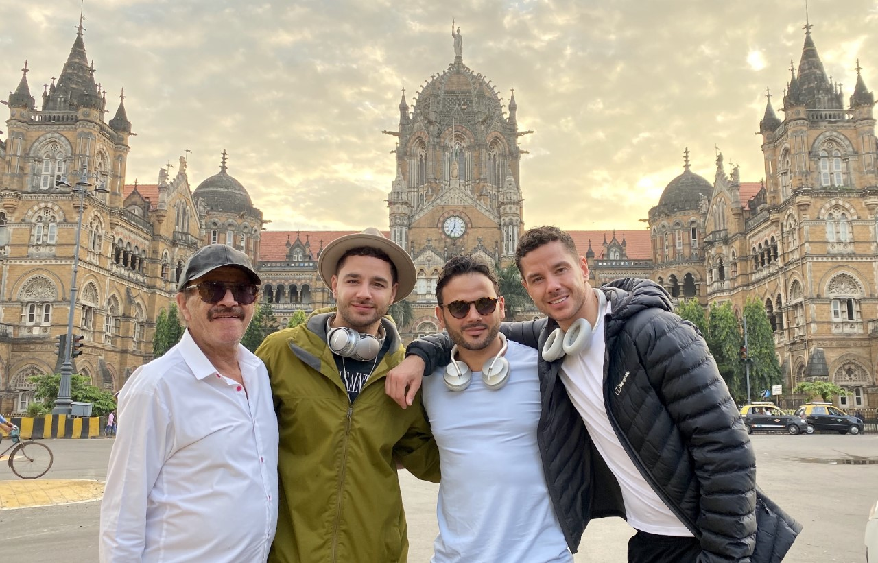 TRAVEL TIPS: (From left) Dougie, Adam, Ryan and Scott at Mumbai Station