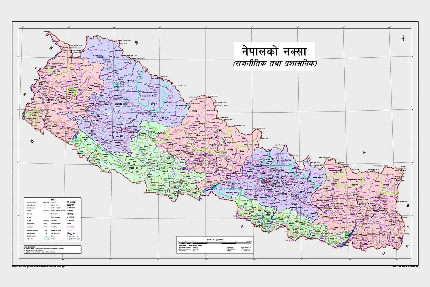 The new political and administrative map of Nepal unveiled by the government (Photo:Twitter)
