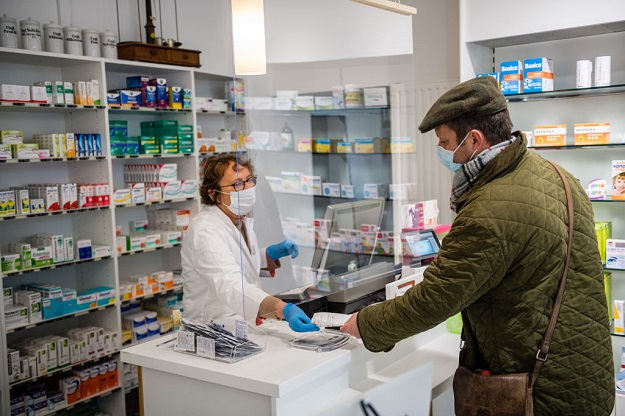 "There have been recent incidents of stock being swiped in south London, Kent, the Midlands, and Lancashire. Community Pharmacy Lancashire, which represents 369 community pharmacies in the county, launched a ""care for your pharmacy"" cam­paign in response to the incidents, calling on pa­tients to respect staff and lockdown rules (Photo: Jens Schlueter/Getty Images)."