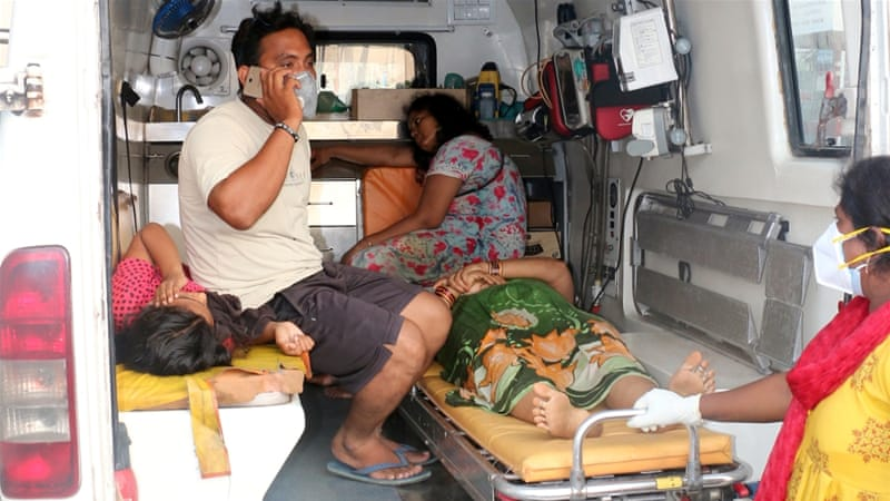 People affected by a gas leak at the LG Polymers Plant are transported in an ambulance in Visakhapatnam on Thursday [R Narendra/Reuters]