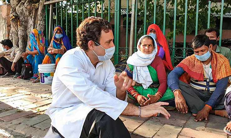 Former Congress president Rahul Gandhi interacts with migrant labourers | PTI