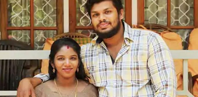 Soorja pictured with his wife Uthra.