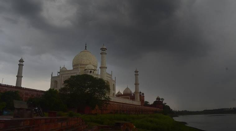 Agar: Dark clouds gather in the sky over Taj Mahal, in Agra, Saturady, May 30, 2020. (PTI Photo)(PTI30-05-2020_000019A)
