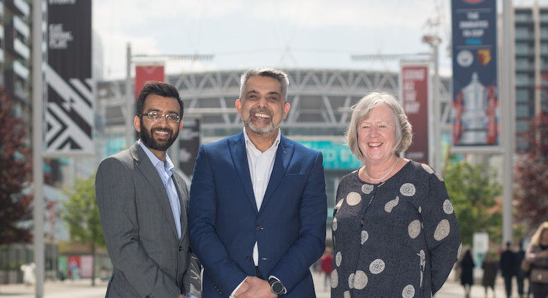 Muhammed Butt (leader of Brent Council-C), Carolyn Downs (Brent Council chief executive-R) and  Krupesh Hirani (cabinet member for public health, culture and leisure-L) Photo: brent2020.co.uk