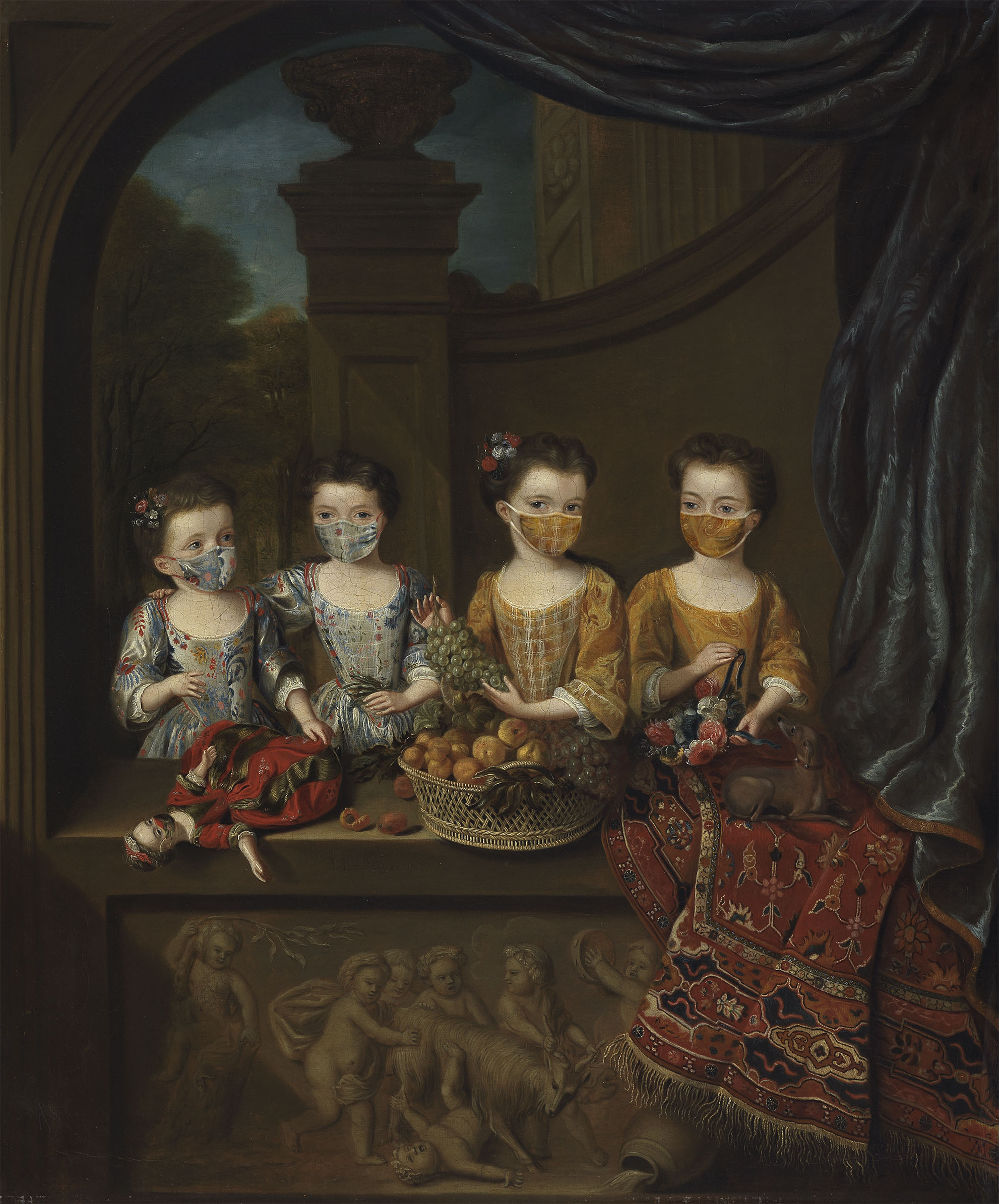 SENSE OF HUMOUR: The Daughters of Sir Matthew Decker. Cambridge's Fitzwilliam Museum has added face coverings to some of its best-known paintings. (All images © Fitzwilliam Museum)