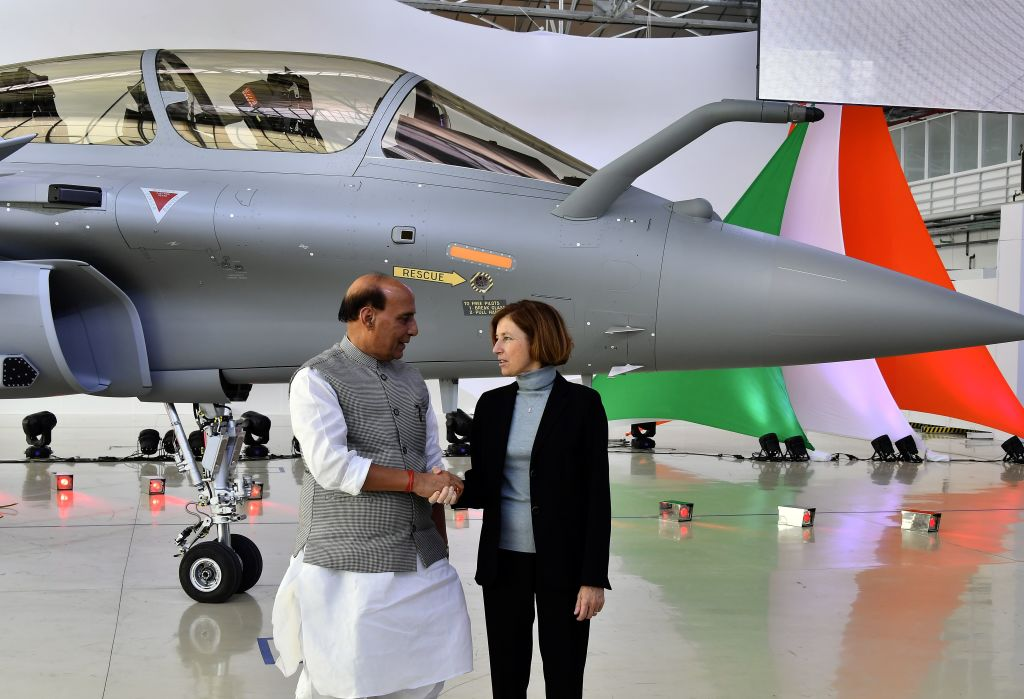 Indian Defence Minister Rajnath Singh with his French counterpart Florence Parly at Dassault Aviation plant in Merignac on October 8, 2019. (Photo: GEORGES GOBET/AFP via Getty Images)