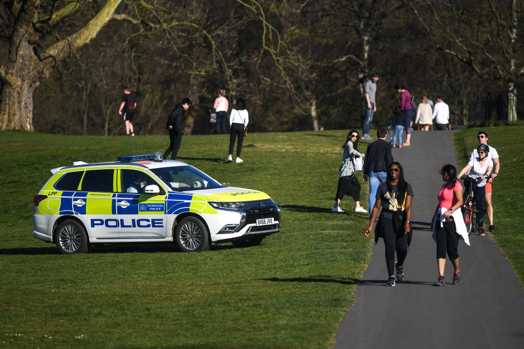 File photo of a police car patrolling Greenwich Park on April 5, 2020 in London. (Photo: Peter Summers/Getty Images)
