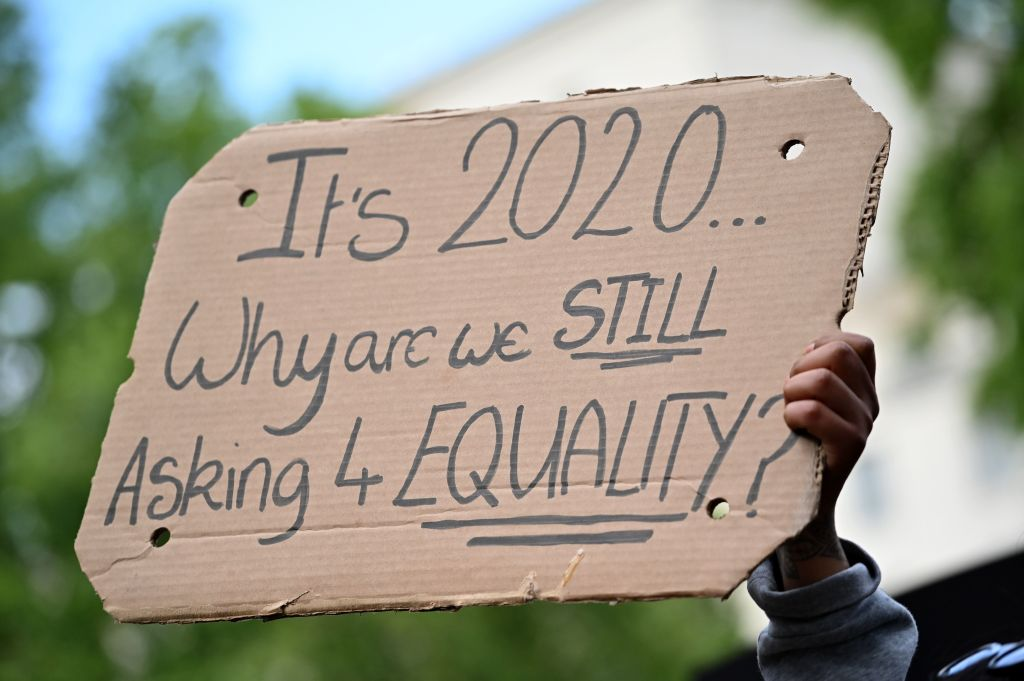 The current anti-racism protests, on both sides of the Atlantic, show that mobilising those who feel most strongly about the issue can create pressure for change – pressing governments and employers to act to tackle barriers to equal opportunity (Photo: JUSTIN TALLIS/AFP via Getty Images).