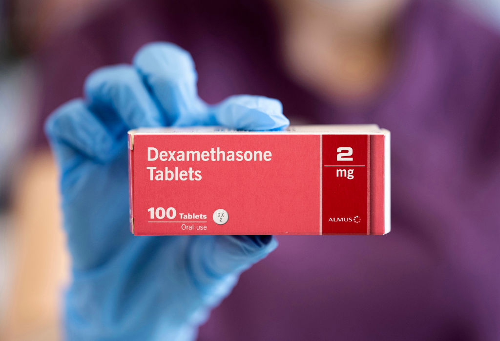 In this photo illustration, a close-up of a box of Dexamethasone tablets in a pharmacy on June 16, 2020 in Cardiff, UK. Results of a trial have shown that Dexamethasone, a cheap and widely used steroid drug which is used to reduce inflammation, reduced death rates by around a third in the most severely ill Covid-19 patients. (Photo: Matthew Horwood/Getty Images)