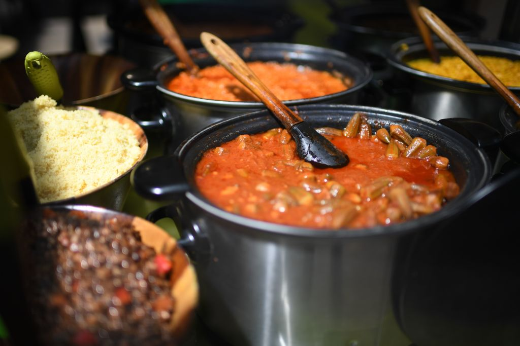 "Cooked food is seen ready to serve at Old Spitalfields Market in London on June 28, 2020.  ""People have gone to extraordinary lengths to remain safe, including staying at home for the past 12 weeks, so encouraging them to eat more healthily and take more exercise should not be that difficult,"" said a health department official. (Photo: DANIEL LEAL-OLIVAS/AFP via Getty Images)"