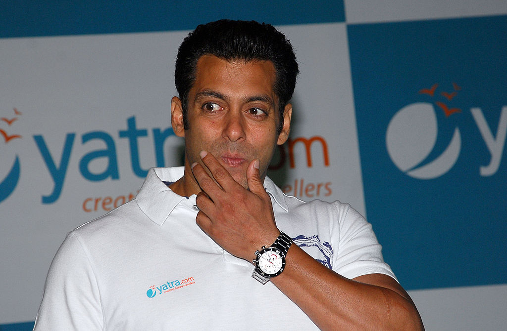 FILE PHOTO: Indian Bollywood Actor Salman Khan gestures at a press conference announcing him as the brand ambassador for the online travel portal Yatra.com in Mumbai on April 2, 2012. AFP PHOTO/STR