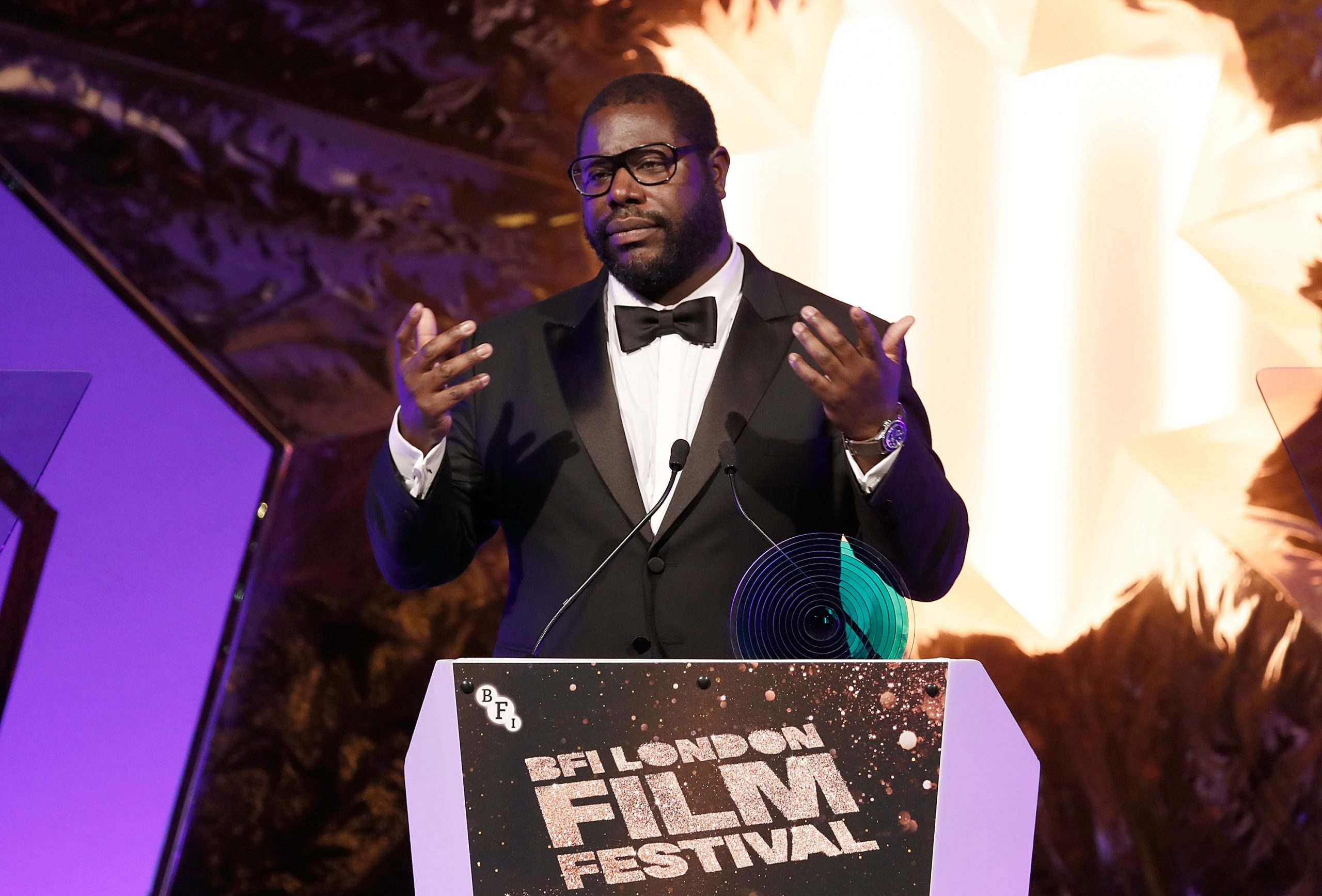 Director Steve McQueen accepts the BFI Fellowship Award at the BFI London Film Festival Awards during the 60th BFI London Film Festival at Banqueting House on October 15, 2016 in London, England.  (Photo by John Phillips/Getty Images for BFI)