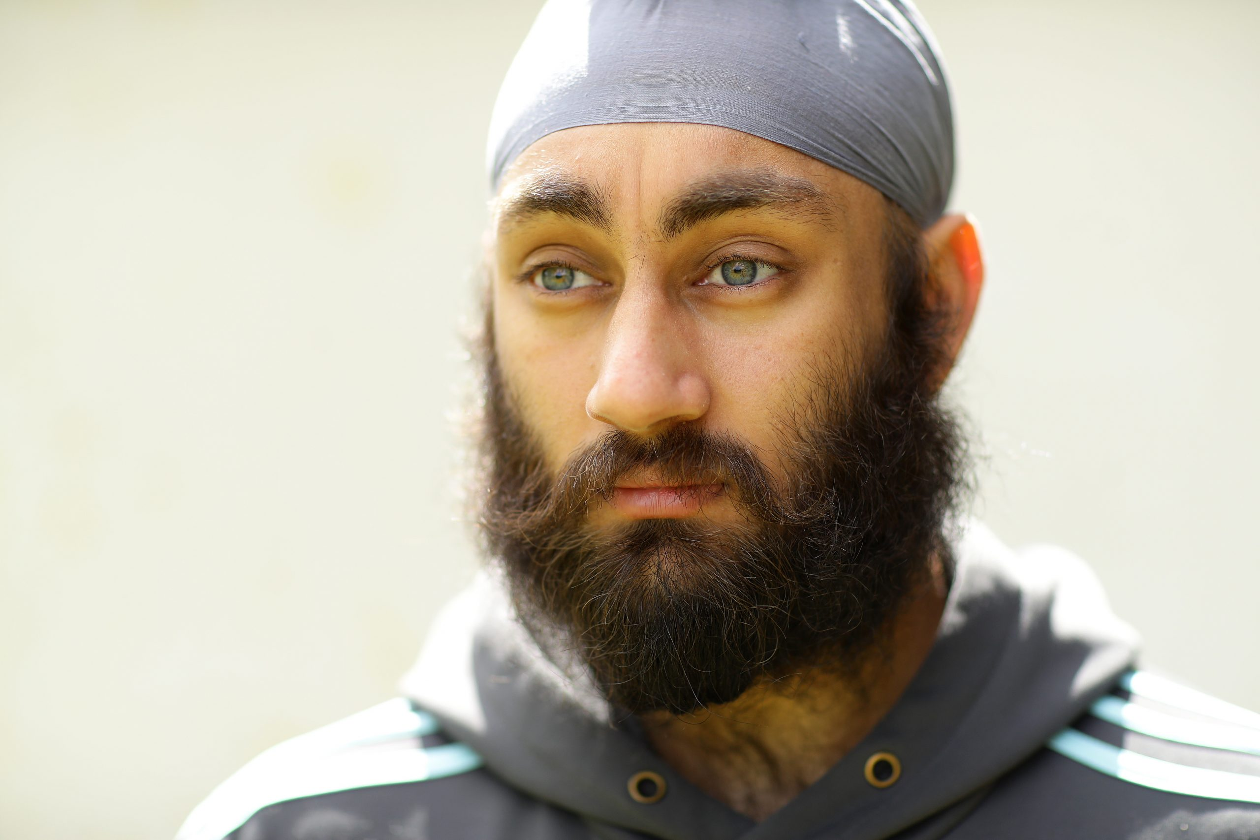 WRAYSBURY, ENGLAND - MAY 13: Surrey Cricketer Amar Virdi training at home on May 13, 2020 in Wraysbury, England. Virdi also volunteers for a 100% voluntary West London based humanitarian-aid organisation, NishkamSWAT which aims to unite and transform financially disadvantaged communities by serving love through food to those in need regardless of their creed, culture, social status or age.  (Photo by Richard Heathcote/Getty Images)
