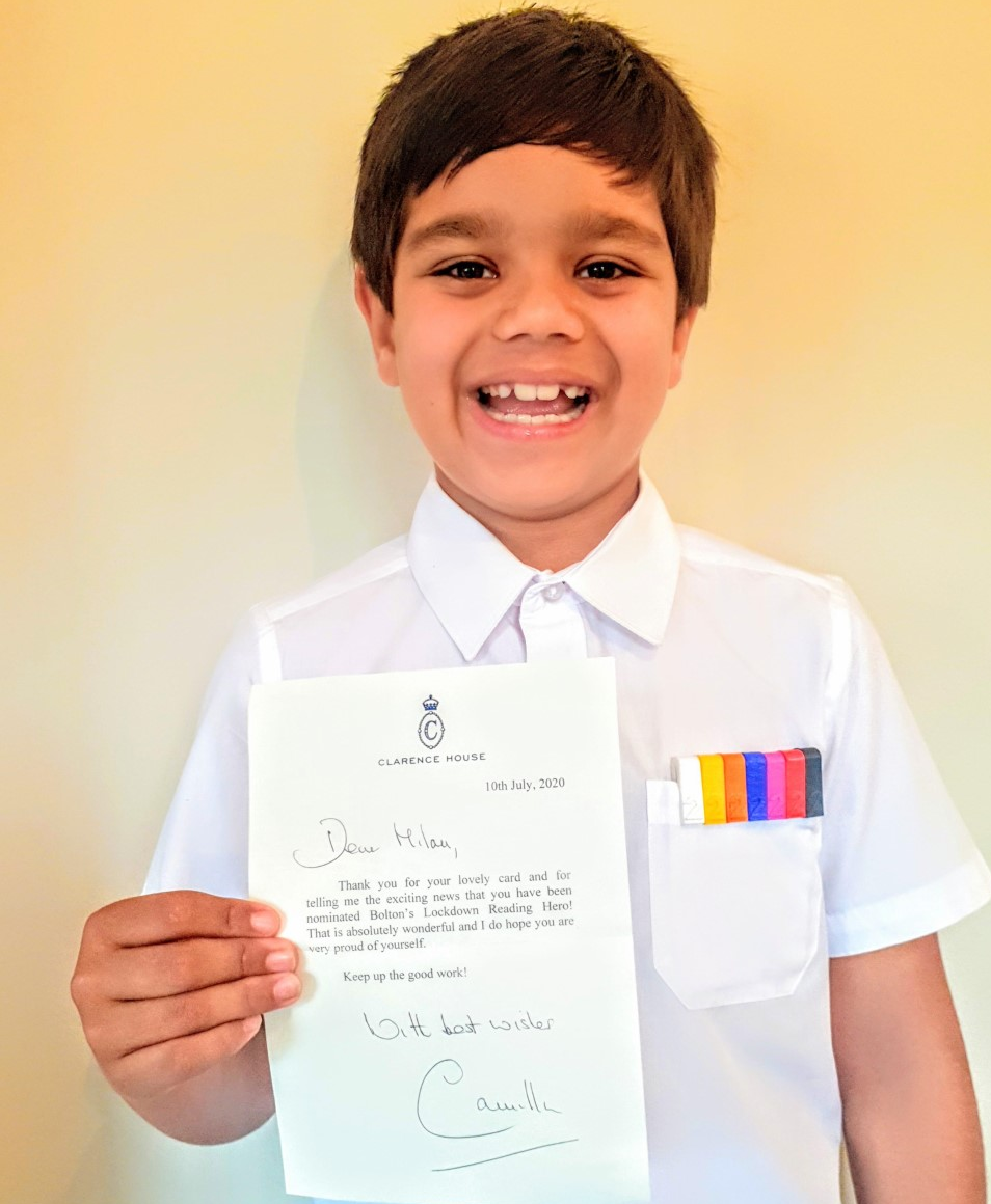 Milan Kumar with the congratulatory letter from Camilla.