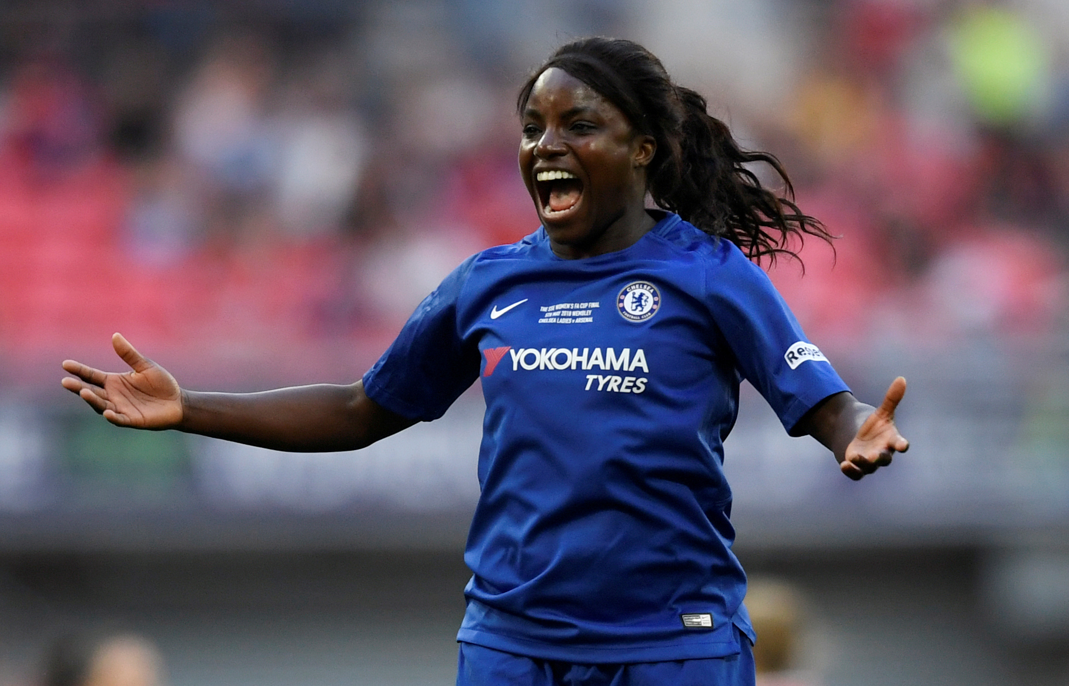 """We are still seeing a glass ceiling to a certain extent. We've gone to having great representation on the pitch... but that transition doesn't necessarily reflect when it goes off the pitch into the boardroom and even in ownership"" says former England player Eniola Aluko. (Tony O'Brien/File Photo/ REUTERS)"