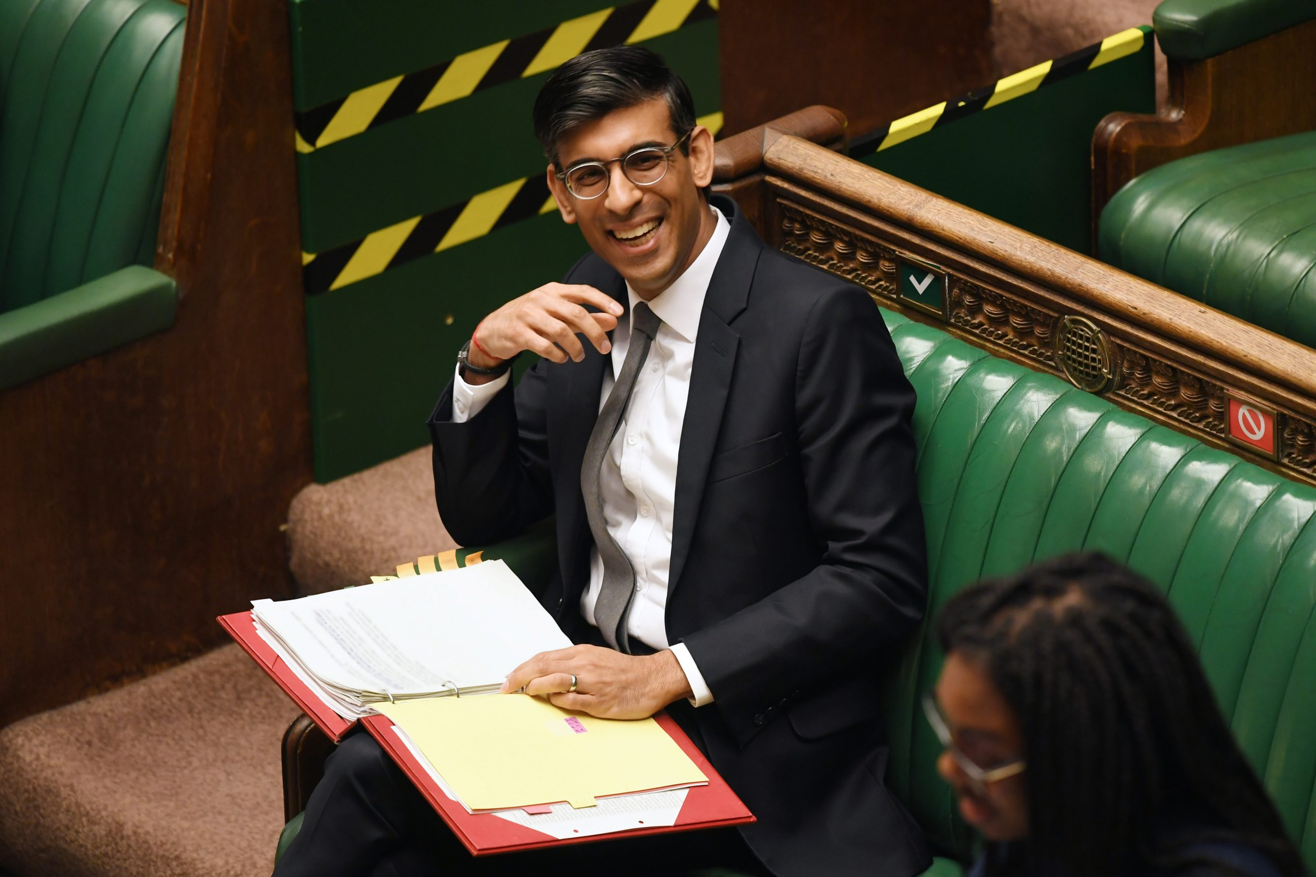Rishi Sunak reacts during question period to the Chancellor of the Exchequer in London, Britain July 7, 2020. (UK Parliament/Jessica Taylor/Handout via REUTERS)