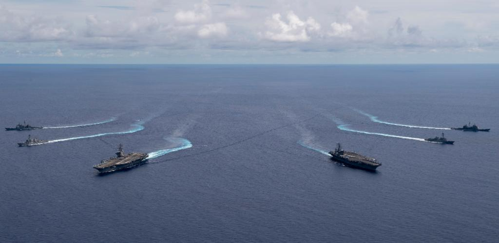 US aircraft carriers Nimitz and Ronald Reagan in the South China Sea. (Courtesy: US Navy)