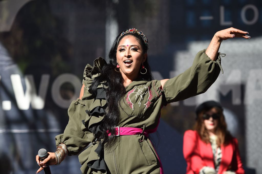 FILE PHOTO: Indian-American rapper Raja Kumari performs during the Third Annual Women's March LA in downtown Los Angeles, California on January 19, 2019. (ROBYN BECK/AFP via Getty Images)