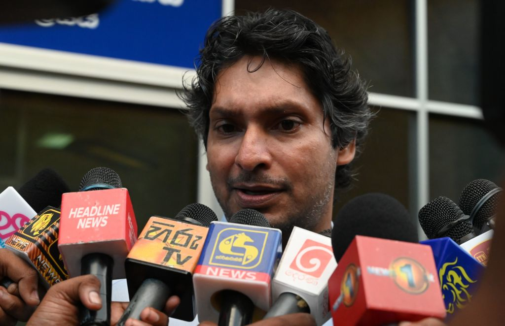 Sri Lanka's cricketer Kumar Sangakkara, captain of the 2011 Cricket World Cup, speaks to the media after questioning by police at the Special Investigation Unit in Colombo on July 2, 2020. (Photo by LAKRUWAN WANNIARACHCHI/AFP via Getty Images)