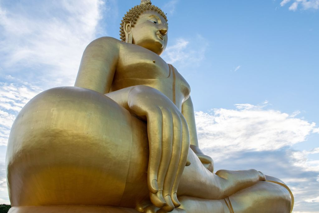 This photo taken on July 2, 2020 shows the largest Buddha statue in Thailand, in Ang Thong province, north of Bangkok, as authorities reopened sites to tourists. (Photo: ALEX OGLE/AFP via Getty Images)