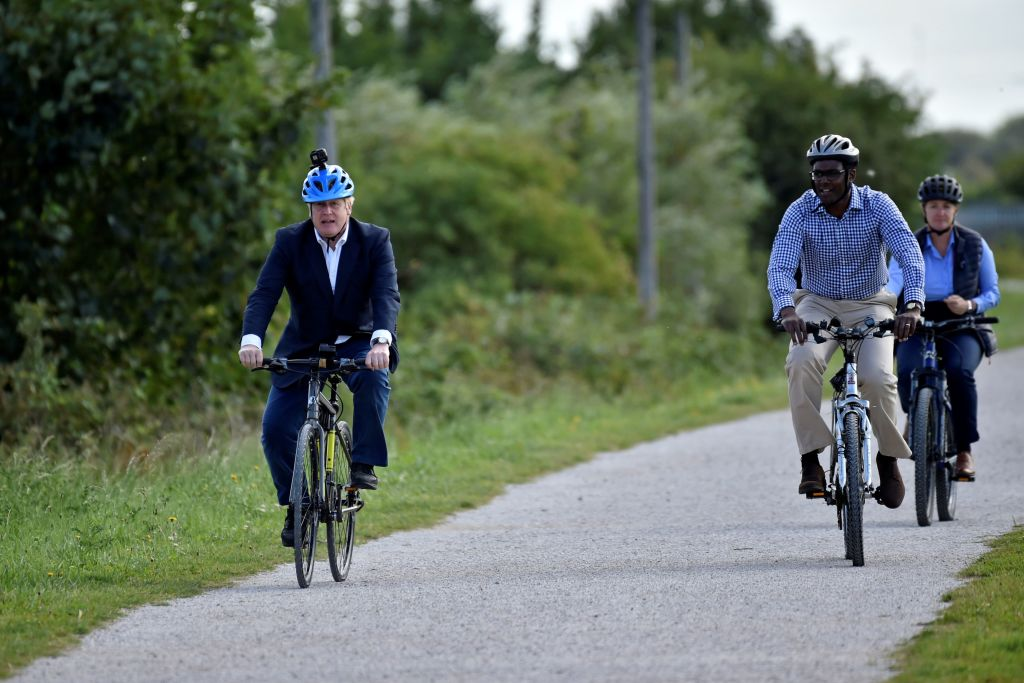 Prime Minister Boris Johnson was seen riding a Hero Viking Pro bike to Canalside Heritage Centre at Beeston in Nottingham on July 28, 2020, during an event to launch the the government's new cycling initiative to help get people fitter. (Photo: RUI VIEIRA/AFP via Getty Images)