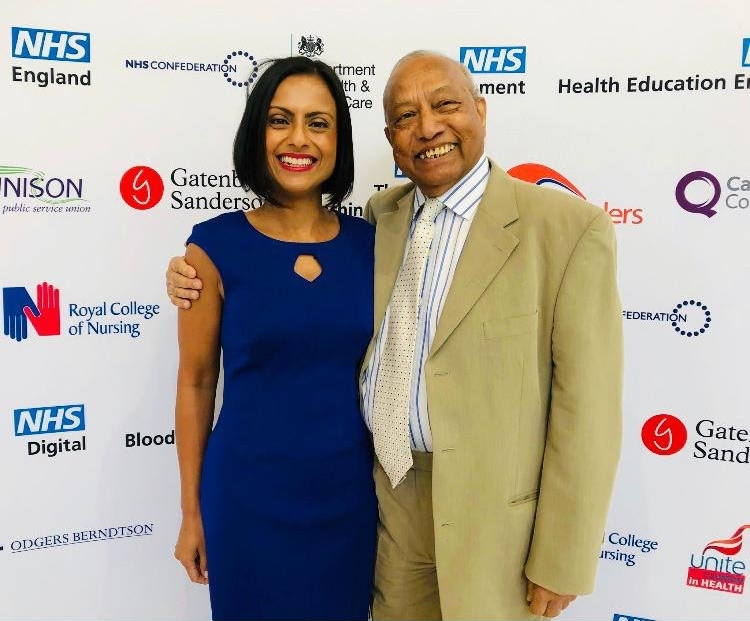 ALL IN THE FAMILY: Dr Binita Kane with her father Professor Bim Bhowmick at the NHS Windrush awards
