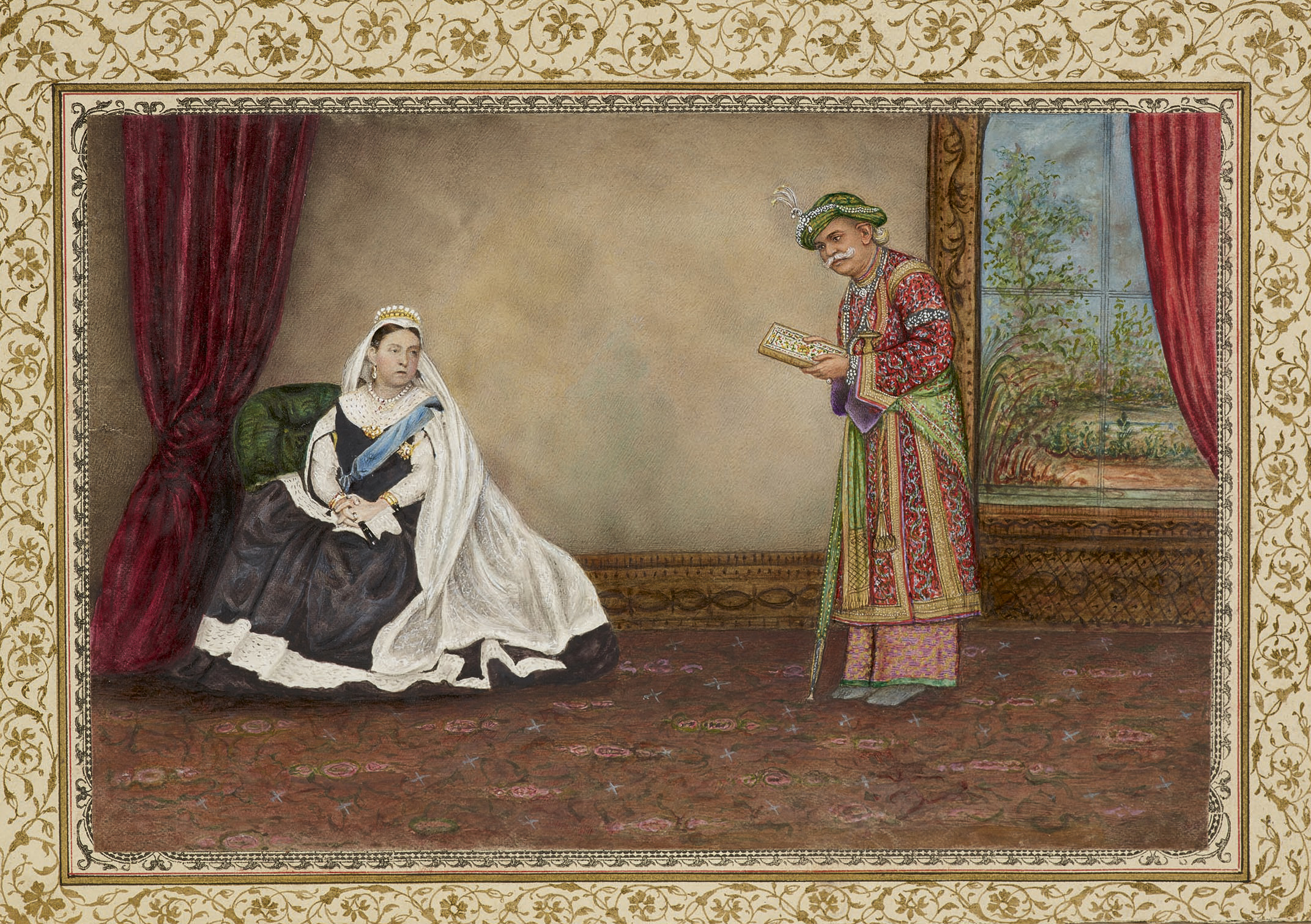 The Eastern Encounters exhibition features a painting by artist Varanasi, depicting the Queen's travels in Scotland and Ireland