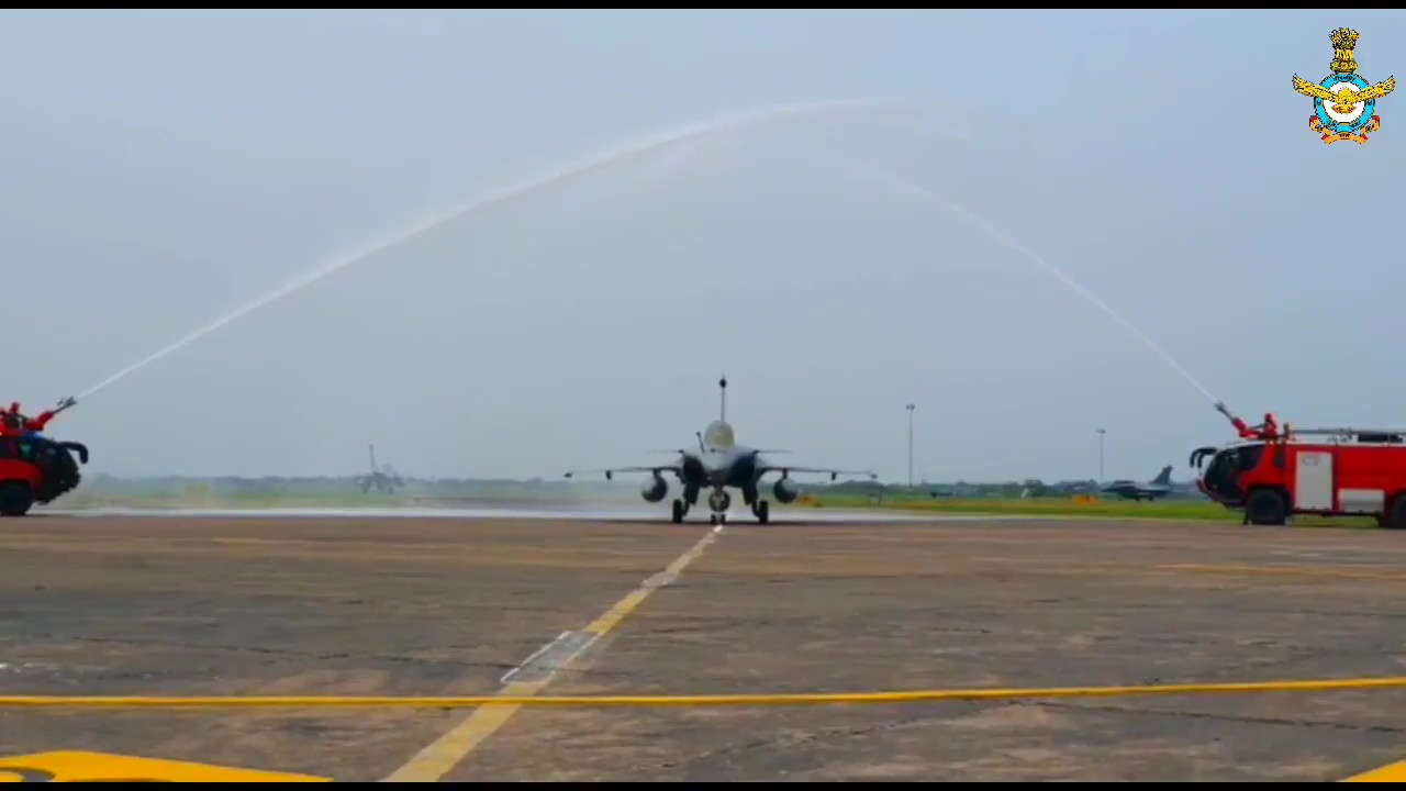 A water-cannon guard of honour greeted the five jets when they landed at the Ambala air base in Haryana state (Photo: Twitter)