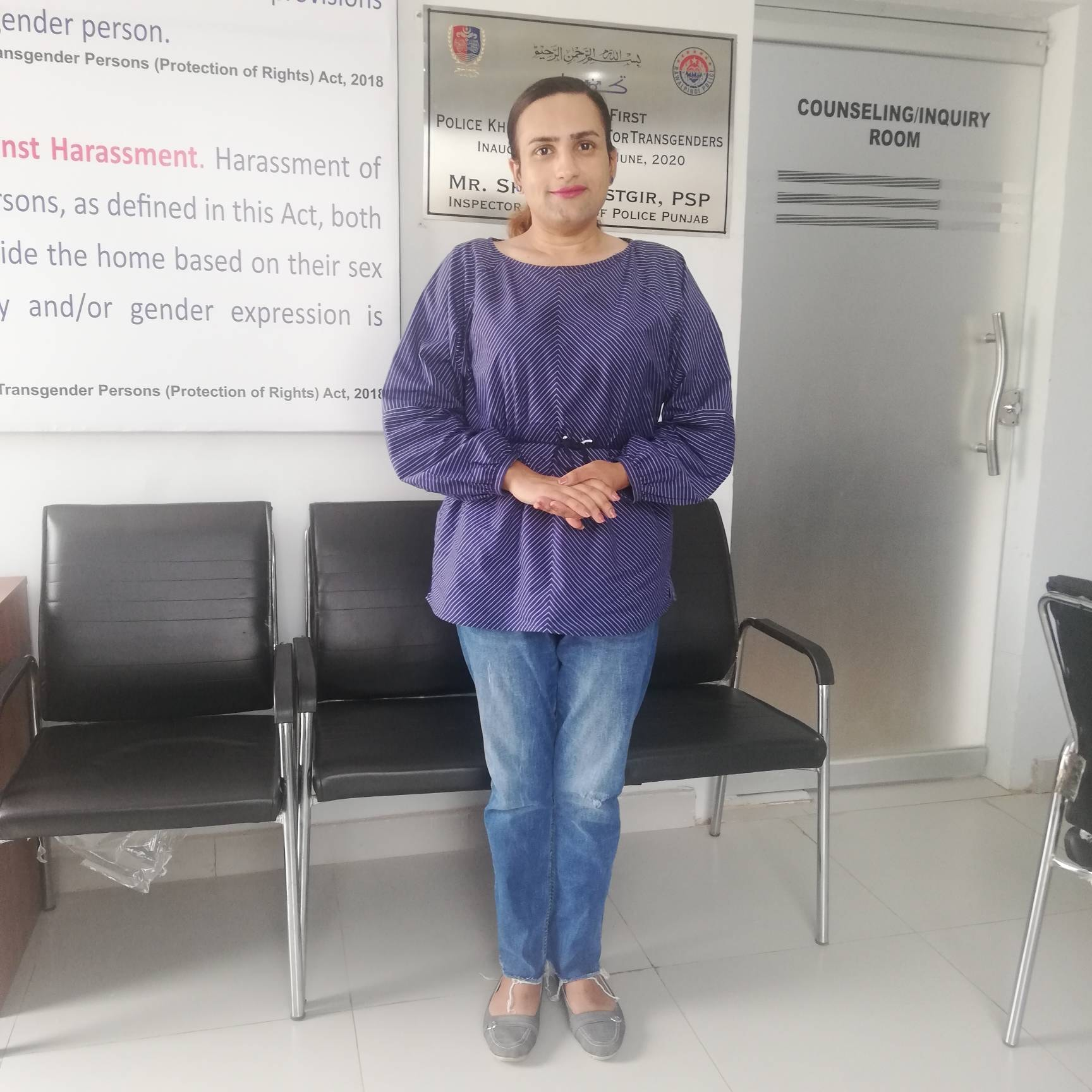 Reem Sharif, Pakistan's first transgender police officer, poses for a photo at her workplace in Punjab, Pakistan on July 1, 2020. Thomson Reuters Foundation/Handout by Reem Sharif