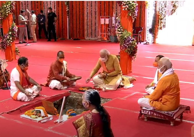 Indian Prime Minister during the stone-laying puja for the Ram temple in Ayodhya, Uttar Pradesh.
