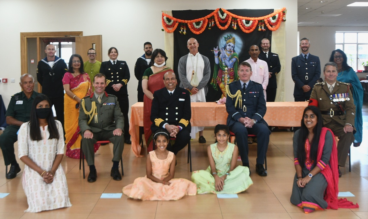 Honorary Indian consul Raj Aggarwal (seated, centre) with dignitaries from the Armed Forces and community members at the Raksha Bandhan event organised by the Hindu Council of   Wales on August 2, 2020.