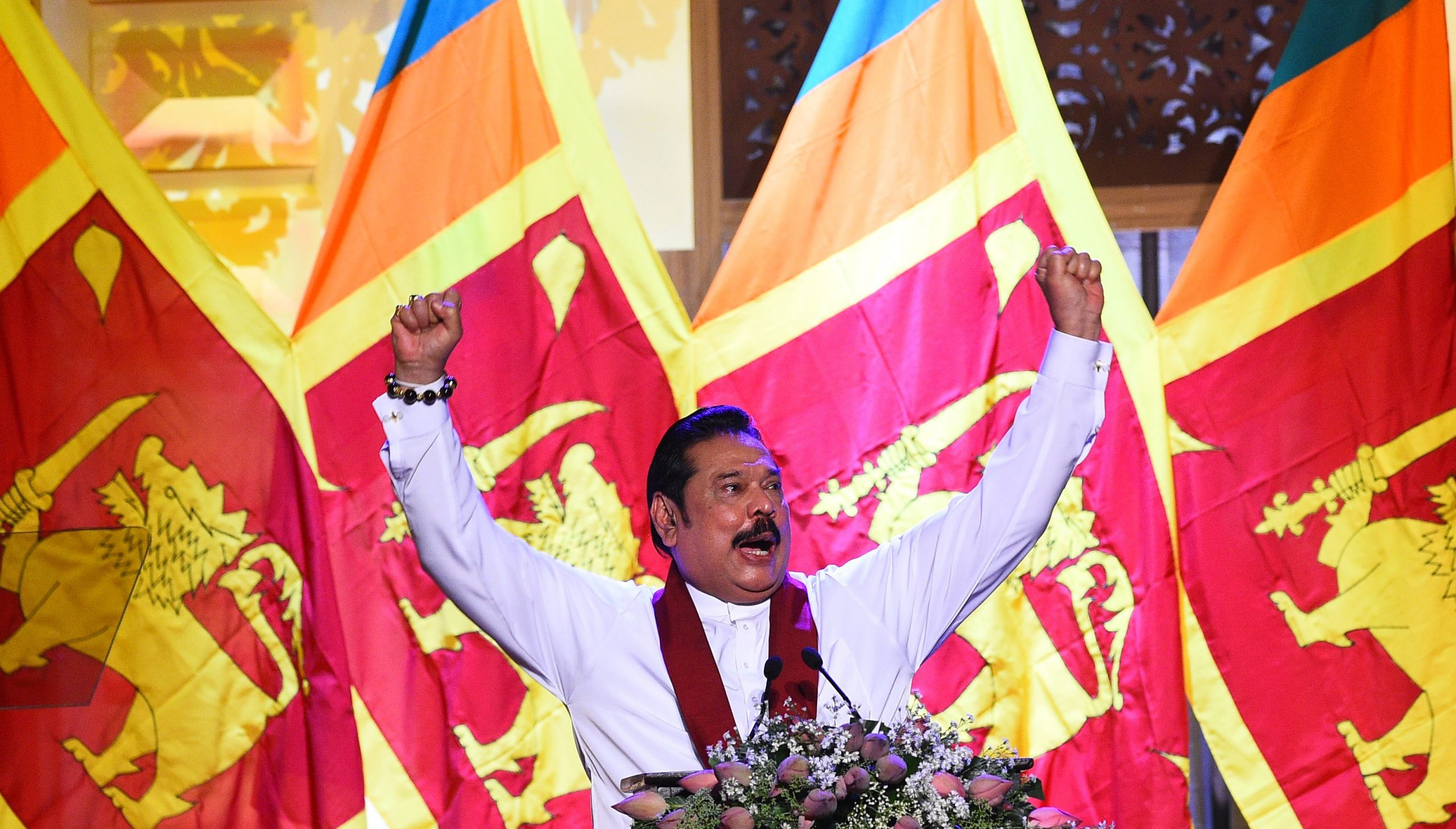 Mahinda Rajapaksa (Photo by ISHARA S.  KODIKARA / AFP)