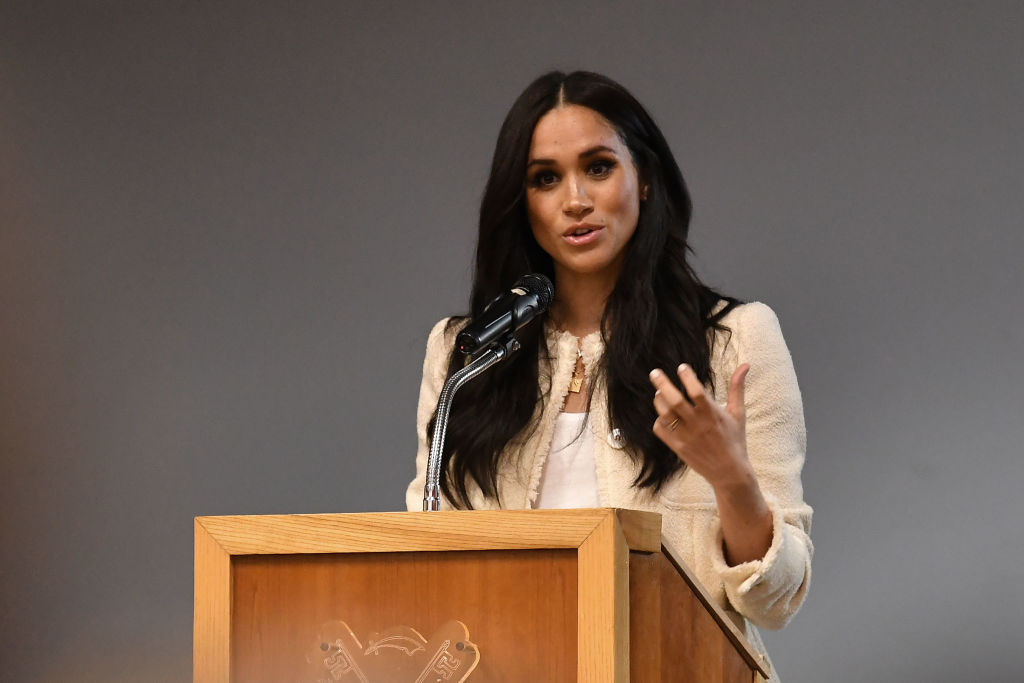 """We vote to honour those who came before us and to protect those who will come after us –– because that's what community is all about and that's specifically what this election is all about,"" Meghan Markle said on the upcoming US elections. (Photo by Ben Stansall/Getty Images)"
