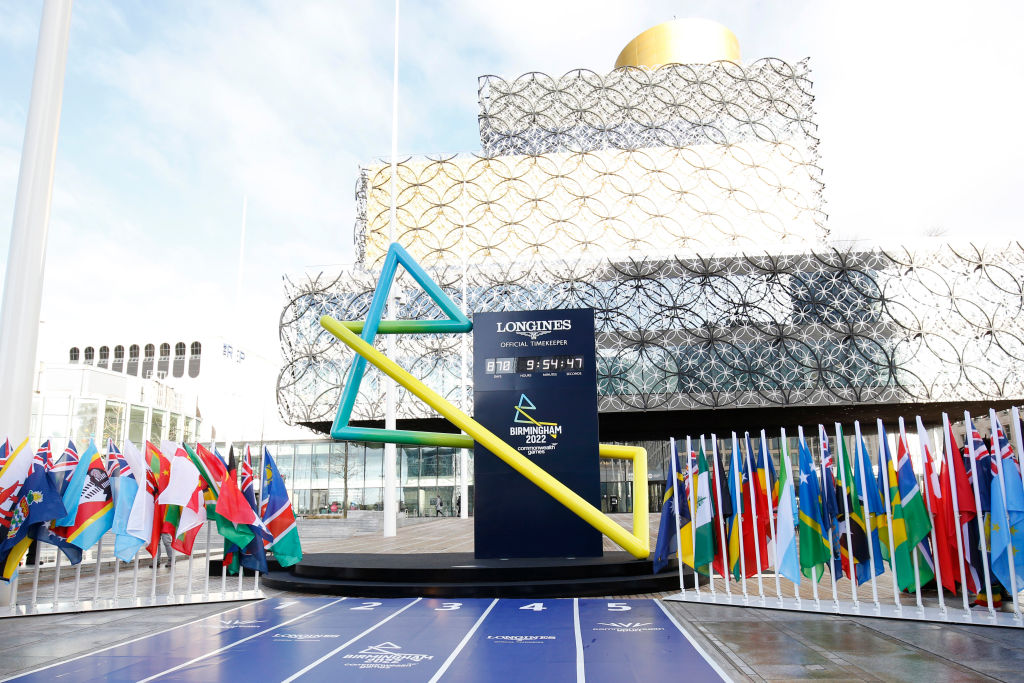 A general view outside the Birmingham Library where the Birmingham 2022 countdown clock is displayed. (Photo: Miles Willis/Getty Images for Birmingham 2022)