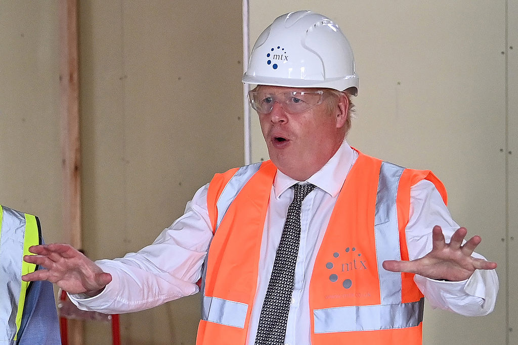 Prime Minister Boris Johnson reacts during his visit to a construction site at The County Hospital in Hereford, western England on August 11, 2020. (Photo: MATTHEW HORWOOD/AFP via Getty Images)
