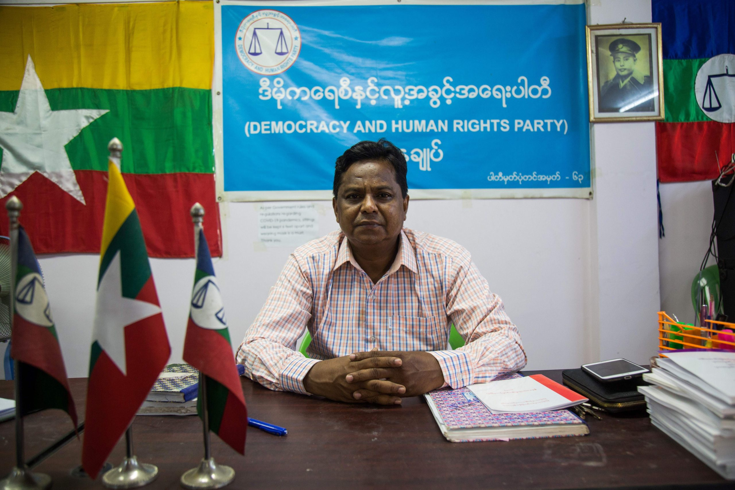 Rohingya candidate Abdul Rasheed, a member of the Democracy and Human Rights Party, poses for a photo in the party's office in Yangon on August 12, 2020. (Photo by SAI AUNG MAIN/AFP via Getty Images)
