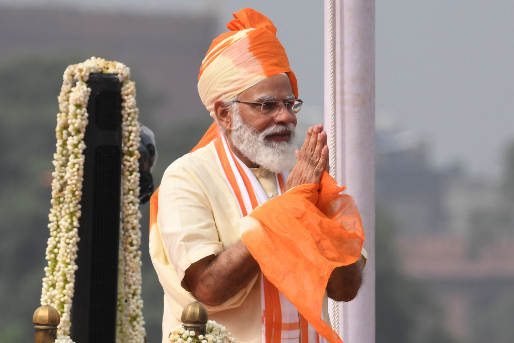 India's Prime Minister Narendra Modi gestures after his speech to the nation during a ceremony to celebrate India's 74th Independence Day, which marks the end of British colonial rule, at the Red Fort in New Delhi on August 15, 2020. (Photo by PRAKASH SINGH/AFP via Getty Images)