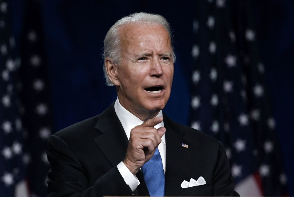 """Democratic presidential nominee Joe Biden  makes it a point to tell Indian-Americans and Indian delegates that he, too, has an """"India connection"""", however, distant that might be.  (Photo: OLIVIER DOULIERY/AFP via Getty Images)"""