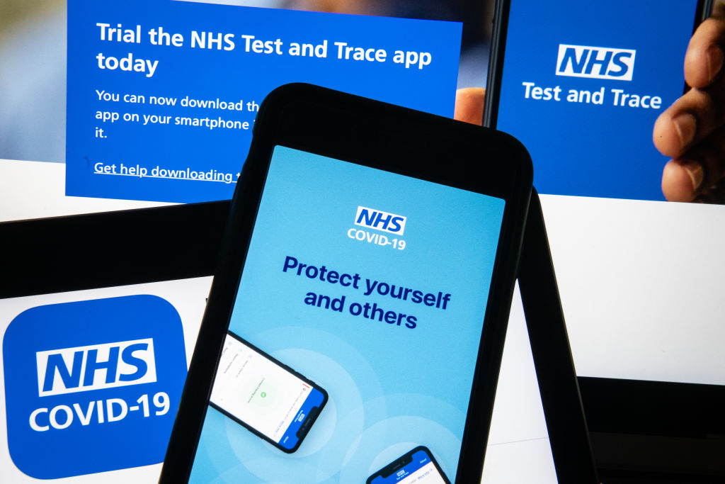 """""""The app is a great step forward and will complement all of the work we are doing with local areas across the country to reach more people in their communitiess,"""" said Dido Harding, executive chair of the NHS Test and Trace programme.. (Photo Illustration by Leon Neal/Getty Images)"""