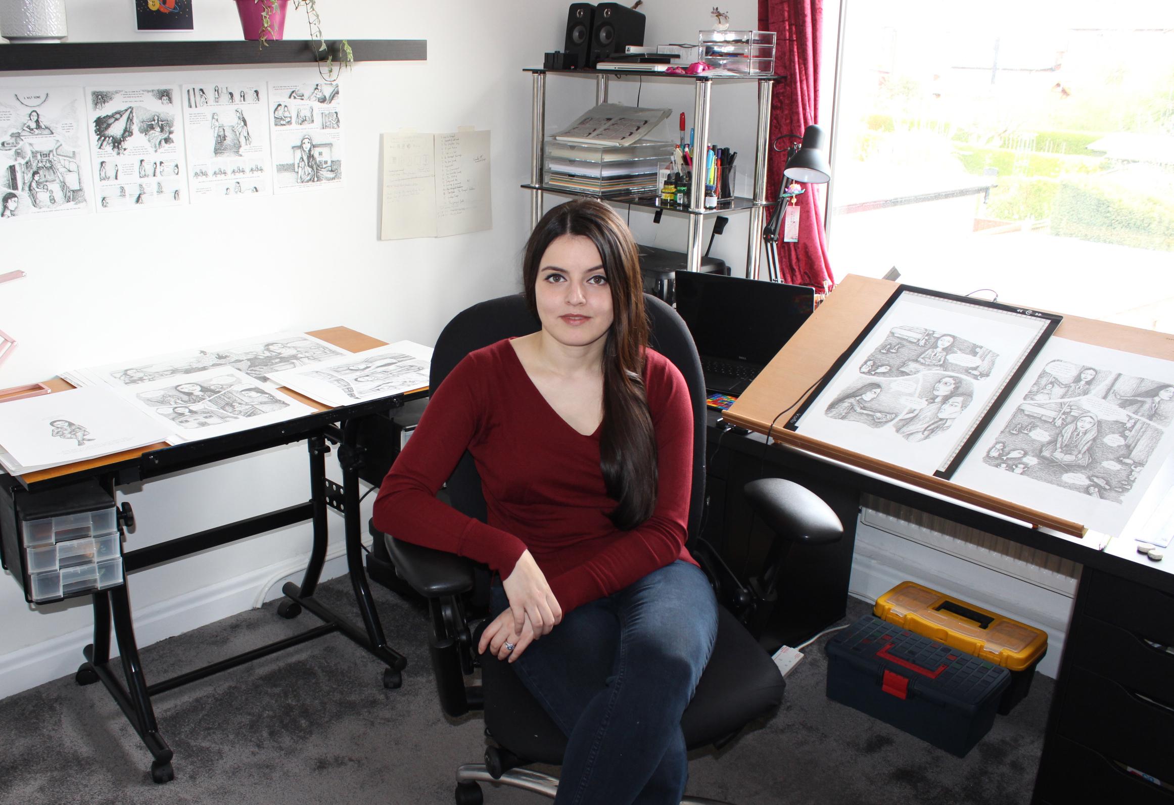Sayra in her studio