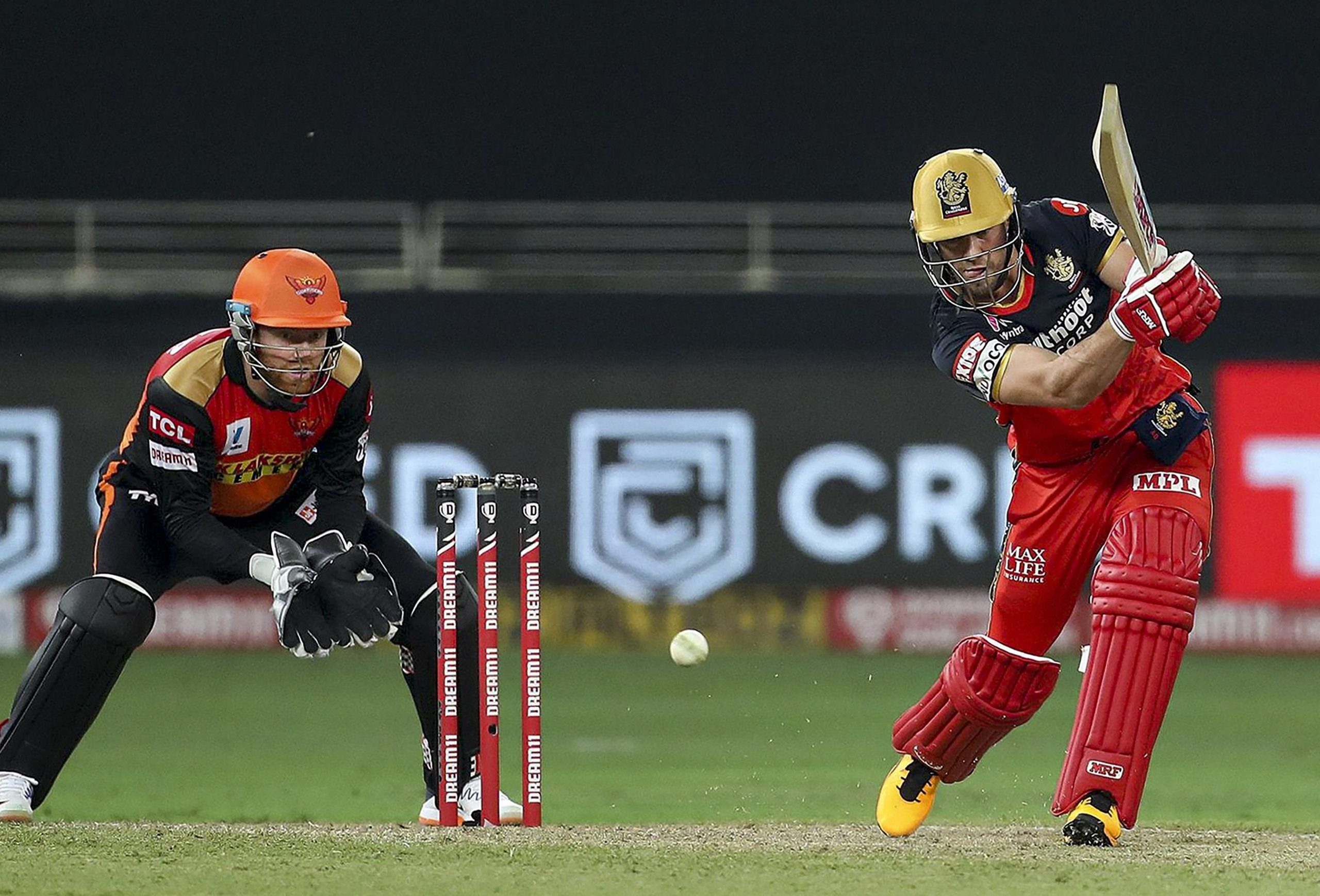 Dubai: Royal Challengers Bangalore batsman AB de Villiers  plays during a cricket match of IPL 2020 against Sunrisers Hyderabad, at Dubai International Cricket Stadium, Dubai, United Arab Emirates, Monday, Sept. 21, 2020. (PTI Photo/Sportzpics)