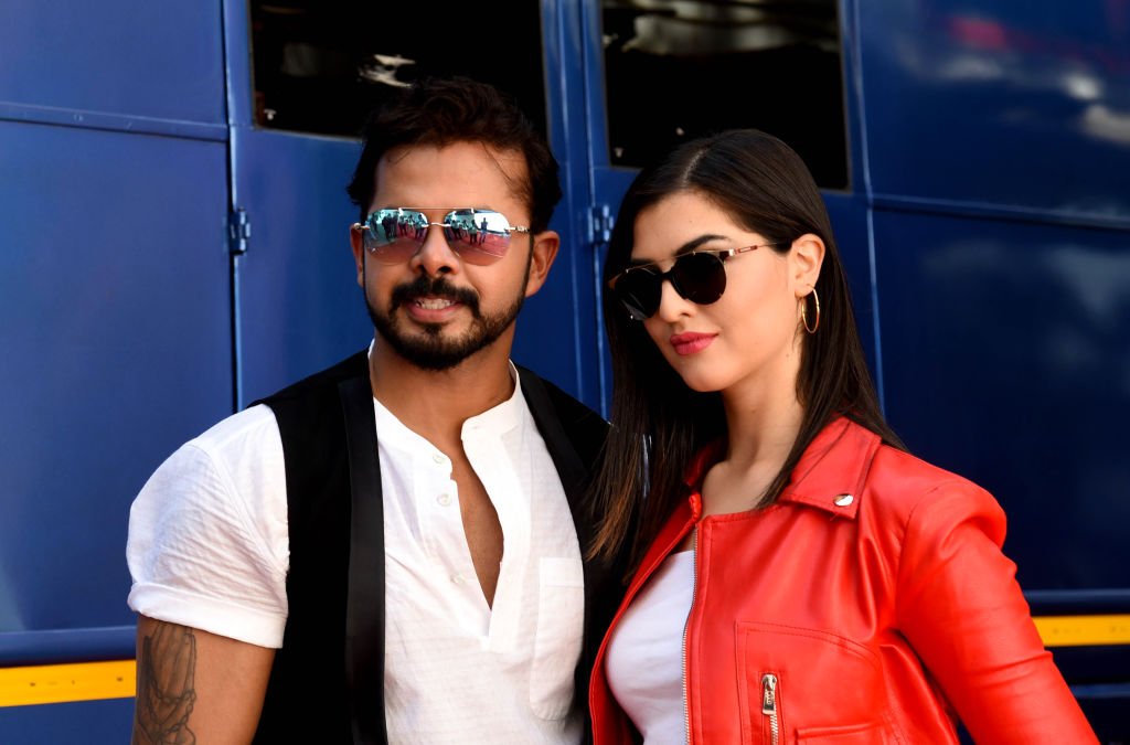 FILE PHOTO: In this picture taken on May 2, 2019, former cricketer turned into actor S. Sreesanth (L) and Spain model and actress Janira Ider (R) pose for photographs during the inauguration of the upcoming Hindi and Kannada film 'SPEED BOYS  Dhoom Machale' in Mumbai. (Photo by SUJIT JAISWAL/AFP via Getty Images)