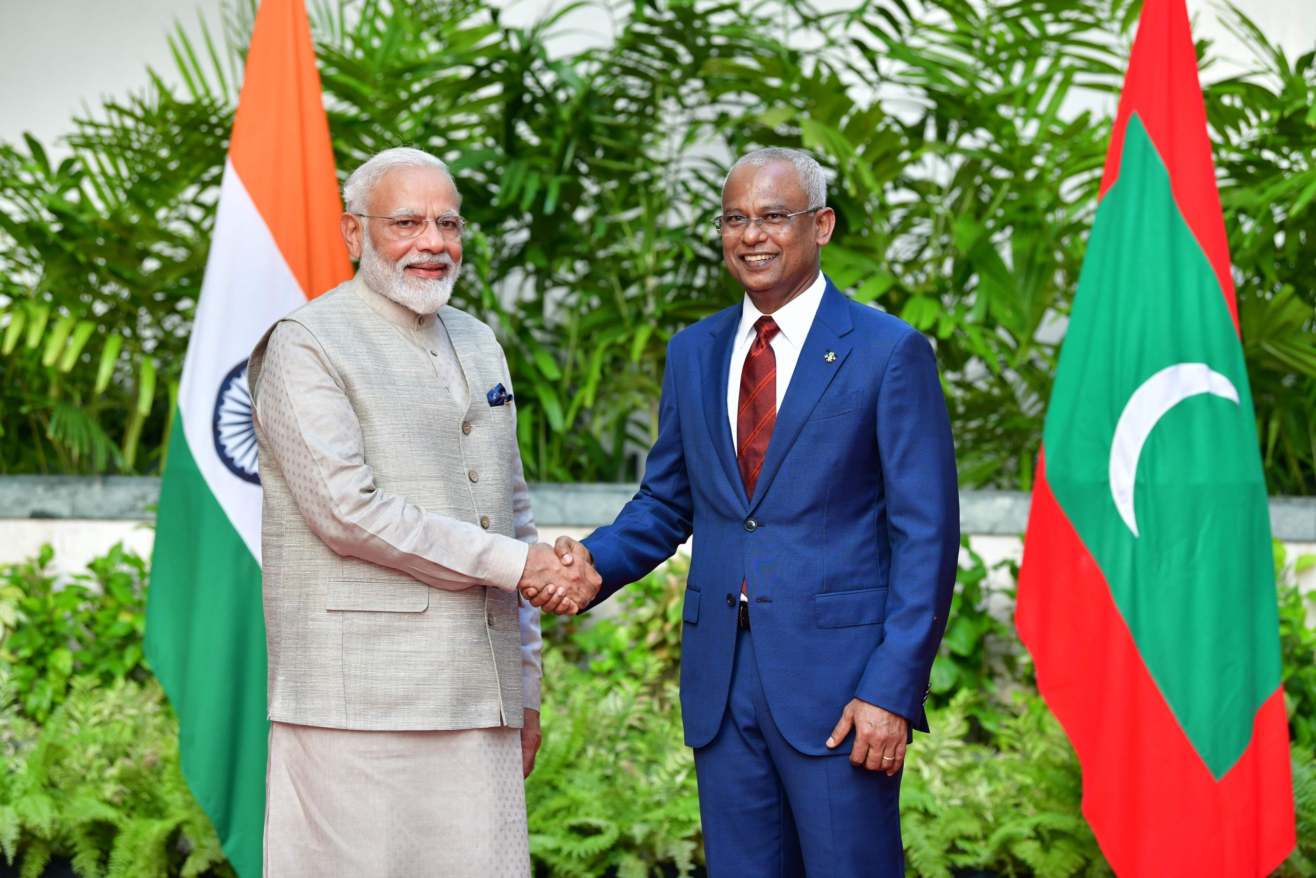 In this picture taken on June 8, 2019, Indian Prime Minister Narendra Modi (L) shakes hands with President of Maldives Ibrahim Mohamed Solih during his one-day visit to Maldives (       (STR/AFP via Getty Images)