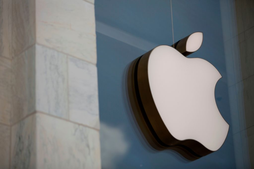 FILE PHOTO: The Apple logo is seen outside the Apple Store in Washington, DC, on July 9, 2019. (ALASTAIR PIKE/AFP via Getty Images)